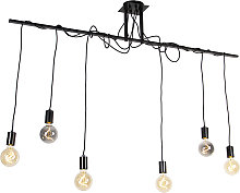 Hanging lamp black 6-lights with 80 cm cables -