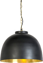 Hanging lamp black with brass 45.5 cm inside -