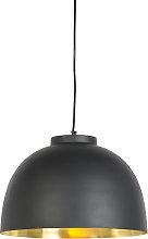 Hanging lamp black with brass inside 40 cm - Hoodi