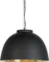 Hanging lamp black with brass inside 60 cm - Hoodi