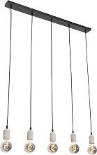 Hanging lamp black with concrete 5-lights - Pedra