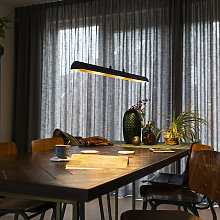 Hanging lamp black with golden interior incl. LED