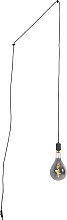 Hanging lamp black with plug incl. Dimmable A165