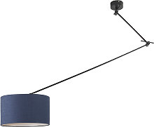 Hanging lamp black with shade 35 cm blue