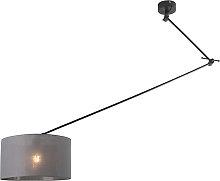 Hanging lamp black with shade 35 cm dark gray