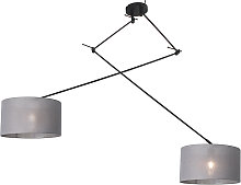 Hanging lamp black with shade 35 cm gray