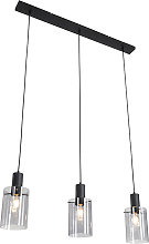 Hanging lamp black with smoke glass 3-light - Vidra