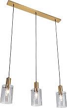 Hanging lamp brass with smoke glass 3-light - Vidra