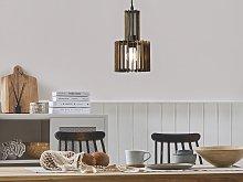 Hanging Lamp Dark Wood MDF Metal Pendant Lighting