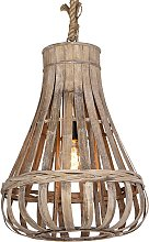Hanging lamp living room, rural, wood with rope,