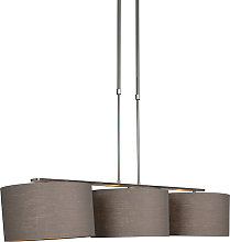 Hanging lamp steel with shade 35 cm old gray -