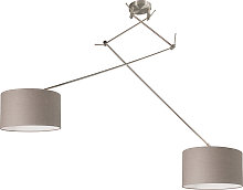 Hanging lamp steel with shade 35 cm taupe