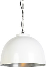Hanging lamp white with nickel inside 45,5 cm -