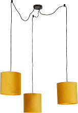 Hanging lamp with 3 velvet shades yellow with gold