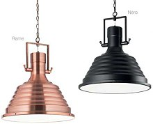Hanging lamp with metal and glass structure