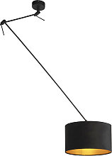 Hanging lamp with velor shade black with gold 35
