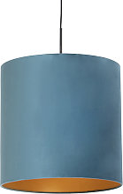 Hanging lamp with velor shade blue with gold 40 cm