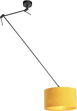 Hanging lamp with velor shade ocher with gold 35