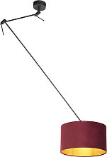 Hanging lamp with velor shade red with gold 35 cm
