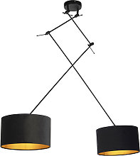 Hanging lamp with velor shades black with gold 35