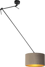 Hanging lamp with velvet shade taupe with gold 35