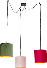 Hanging lamp with velvet shades of red, green and