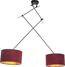 Hanging lamp with velvet shades red with gold 35