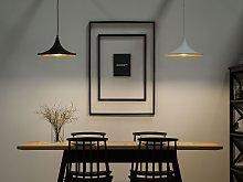 Hanging Light Pendant Lamp Matt Black with Gold