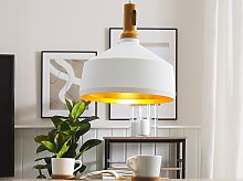 Hanging Light Pendant Lamp White with Gold and