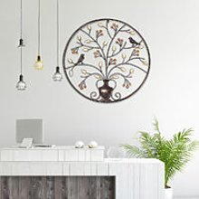 Hanging Sculpture Bird Tree Wall Round Metal Iron
