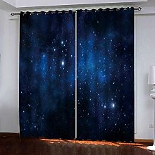 HANTAODG Eyelet Blackout Curtains Blue Sky Pattern