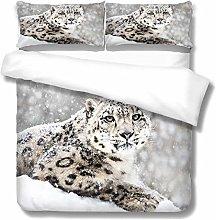HANTAODG Single Duvet Cover Set Animal snow