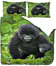 HANTAODG Single Duvet Cover Set Black Baby