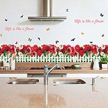 HANXIN Red Flower Butterfly Kitchen Baseboard Wall