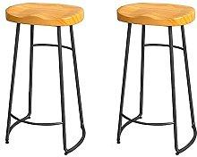 HAO KEAI Bar Stools set of 2 Solid Wood Bar Stool