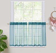 Haperlare Teal Sheer Curtain Tiers, Rod Pocket