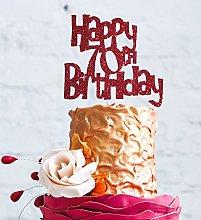 Happy 70th Birthday Cake Topper - Glitter Dark Pink