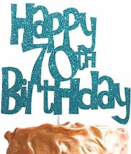 Happy 70th Birthday Fun Style Cake Topper (Made in
