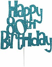 Happy 80th Birthday Fun Style Cake Topper (Made in