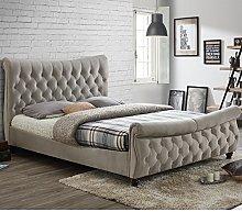 Happy Beds Copenhagen Scroll Sleigh Bed Warm Stone