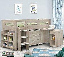 Happy Beds Kids Mid Sleeper Bed, Kimbo Oak Wood