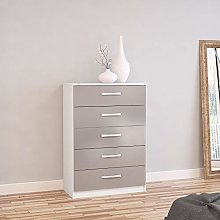 Happy Beds Lynx 5 Drawer Chest MDP Wooden Bedroom