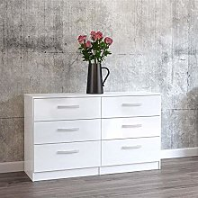 Happy Beds Lynx 6 Drawer Chest MDP Wooden Bedroom