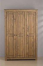 Happy Beds Santiago Pine 3 Door Wardrobe Wooden