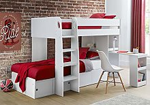 Happy Beds Wooden Bunk Bed with Storage and Desk,
