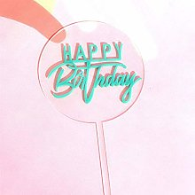 Happy Birthday Acrylic Cake Topper Gold Blue Dots