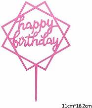 Happy Birthday Cake Topper Acrylic Gold Silver