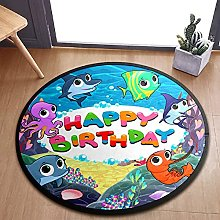 Happy Birthday With Funny Fish Area Rugs Round