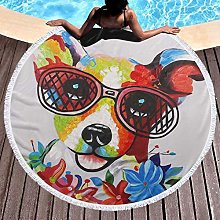 Happy Dog With Glasses Printed Round Beach Towel