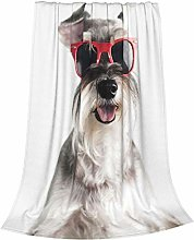 Happy Funny Cool Dog Schnauzer With Red Sunglasses